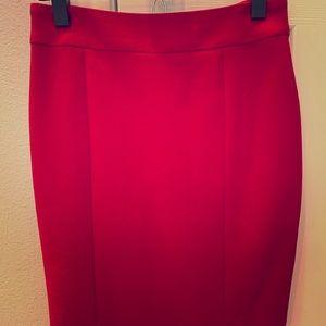 ANN TAYLOR red wool pencil skirt